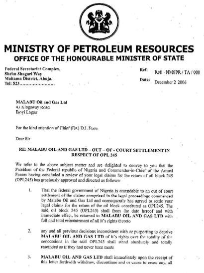 sale of oil block opl 245 by malabu to shell agip royal dutch