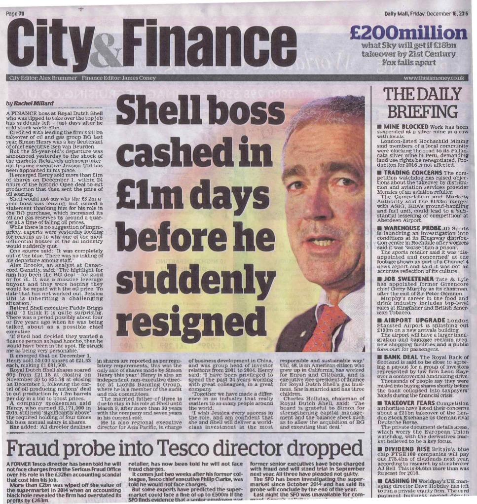 Shell Multimillionaire CFO Simon Henry Departs Today – Royal Dutch